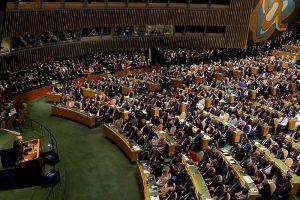 """שגרירת ארה""""ב באו""""ם ניקי היילי במועצת זכויות האדם של האו""""ם, יוני 2017. צילום: רויטרס"""