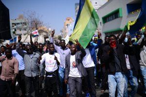הפגנת המסתננים להפלת המשטר בסודן, נווה שאנן, שבת.צילום: תומר ניוברג, פלאש 90