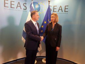 """יו""""ר הכנסת יולי אדלשטיין ושרת החוץ של האיחוד האירופי פדריקה מוגריני. צילום: אלירן טל: EU SERVICE PRESSE"""