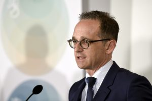German Minister for Foreign Affairs Heiko Maas speaks during his joint press conference with his Finnish counterpart Timo Soini (not pictured) in Helsinki