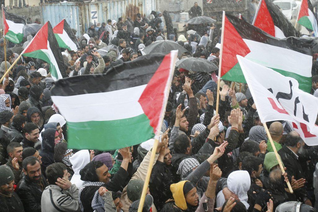 """ערבים ישראלים באום אל פחם נושאים את דגלי אש""""ף בהפגנה. ארכיון. צילום: פלאש 90"""