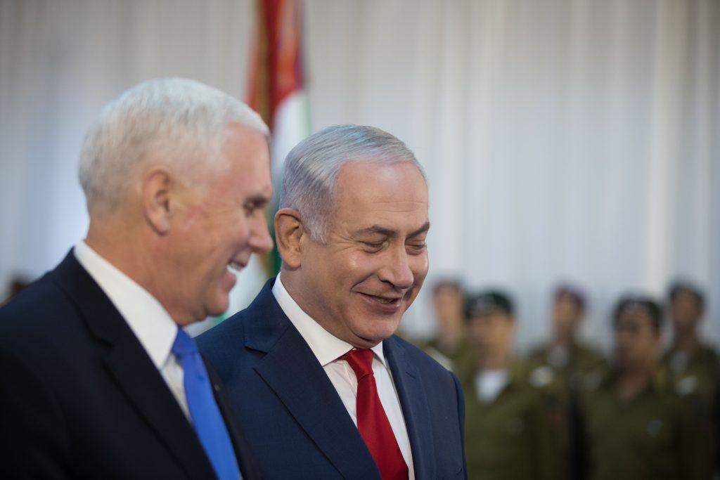 ראש הממשלה נתניהו וסגן הנשיא פנס בקבלת הפנים במשרד ראש הממשלה. צילום: הדס פרוש, פלאש 90