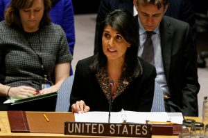 """שגרירת ארה""""ב באו""""ם ניקי היילי בדיון מועצת הביטחון. צילום: רויטרס"""